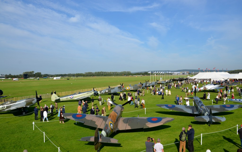 An incredible display of Spitfires, on the ground at Goodwood Revival 2015.