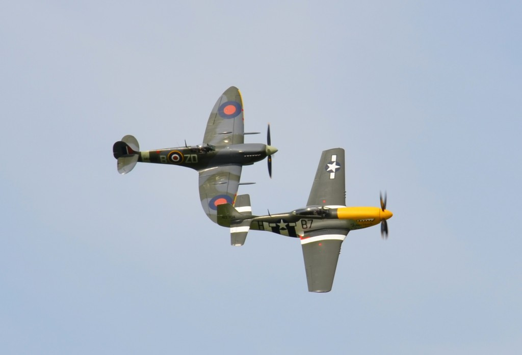 Mustang P51D and Spitfire, Goodwood Revival 2015.