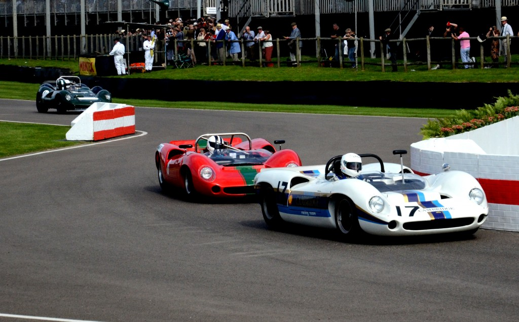 1966 Lola-Chevrolet T70 Spyder driven by Marshall Bailey, followed by the 1965 Lola driven by Tony Sinclair.