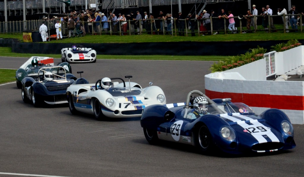 Keith Ahlers in the 1963 Cooper Ford T61 Monaco followed by Marshall Bailey in his Lola Chevrolet T70.