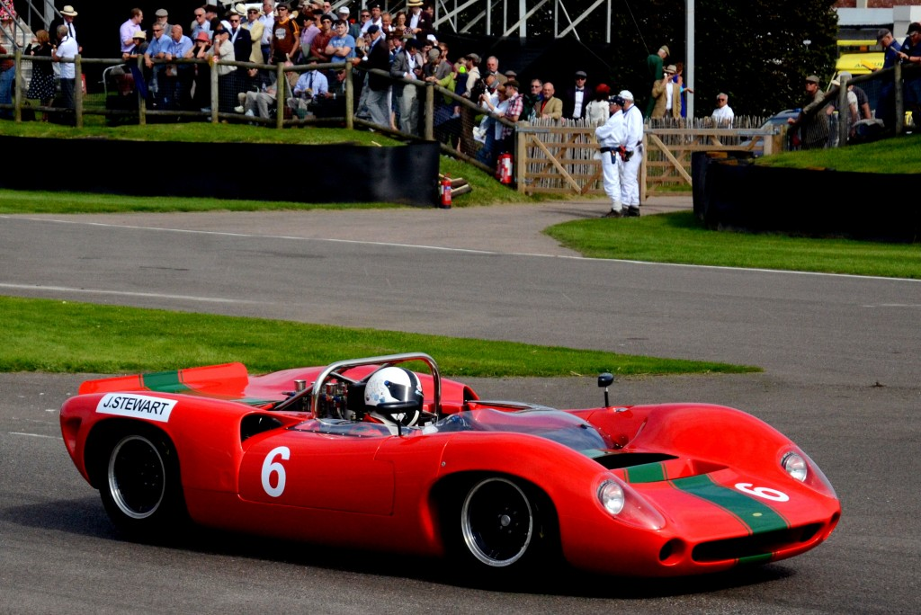 The 1965 Lola Chevrolet T70 Spyder, entered by Grant Reid and driven by Tony Sinclair.