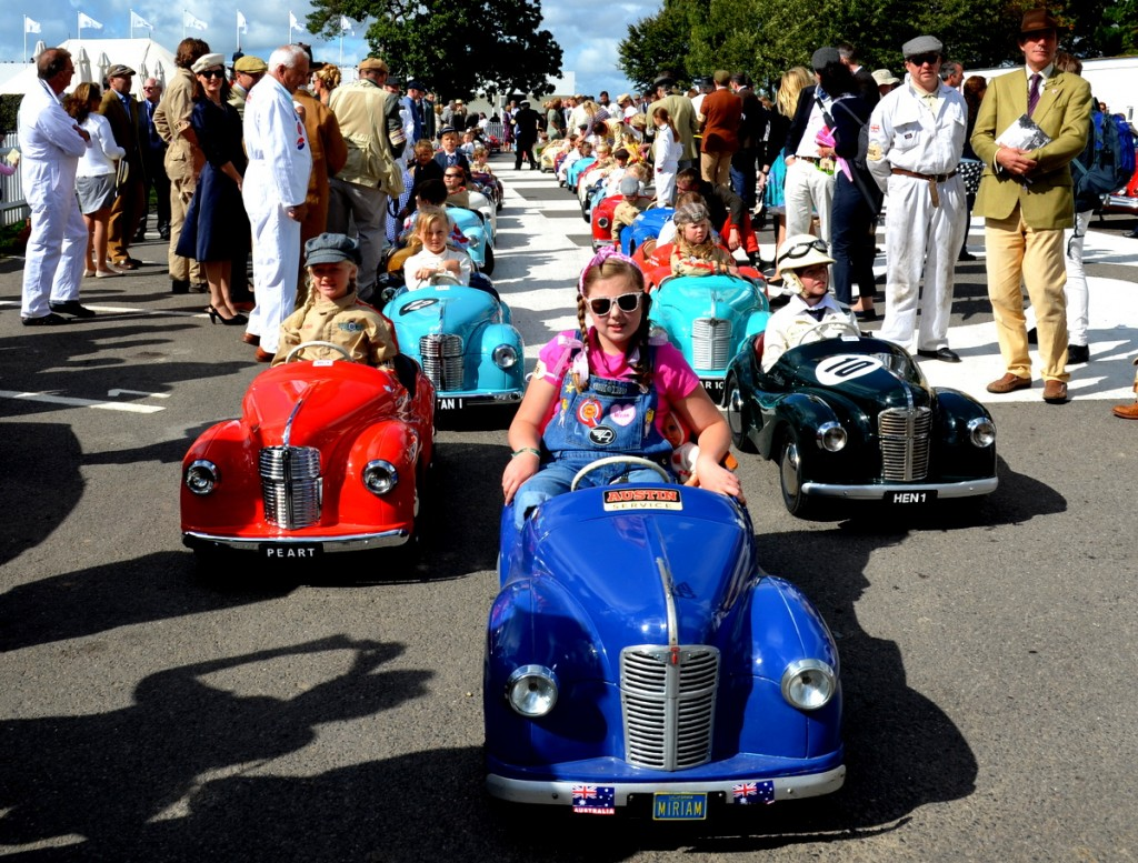 In the paddock prior to the start of the Settrington Cup for Austin J40 Pedal Cars, held at Goodwood Revival 2015