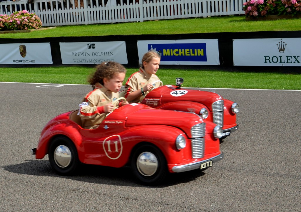 Settrington Cup, Austin J40 Pedal Cars, Racing on the Circuit at Goodwood Revival 2015