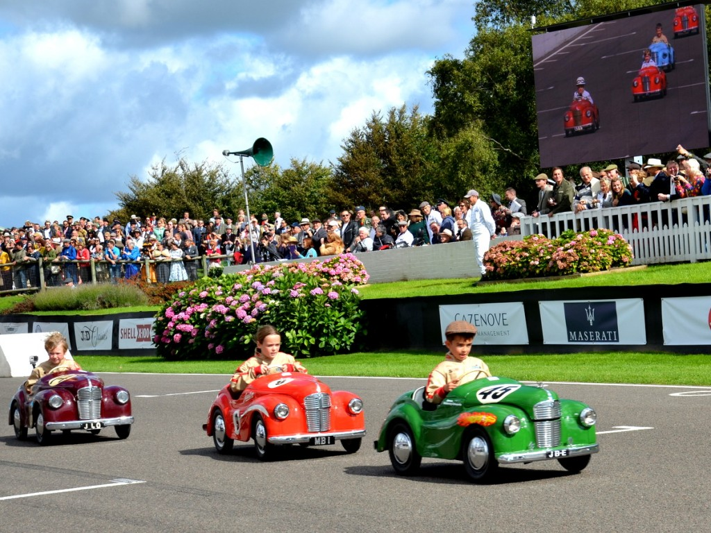 Settrington Cup, Austin J40 Pedal Cars on the circuit at Goodwood Revival 2015