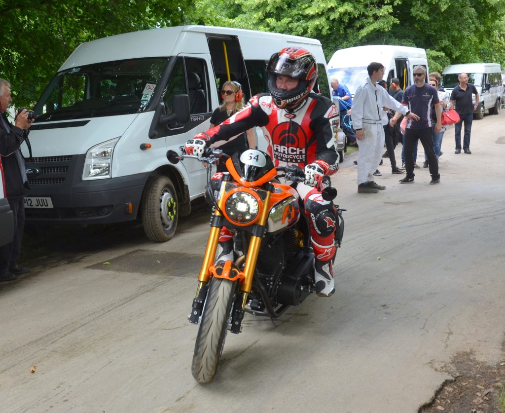 Keanu Reeves riding his Arch Motorcycle at Goodwood Festival of Speed 2016.