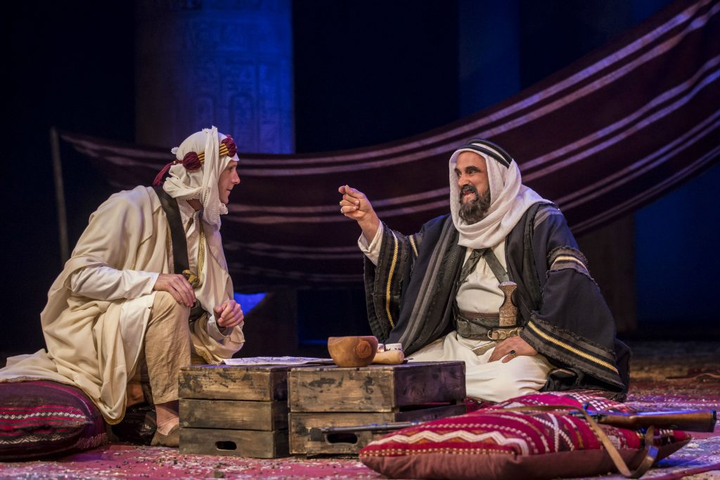 Ross Joseph Fiennes as T.E. Lawrence & Peter Polycarpou as Sheik Auda Abu Tayi in ROSS at Chichester Festival Theatre Photo by Johan Persson. Join The World Magazine