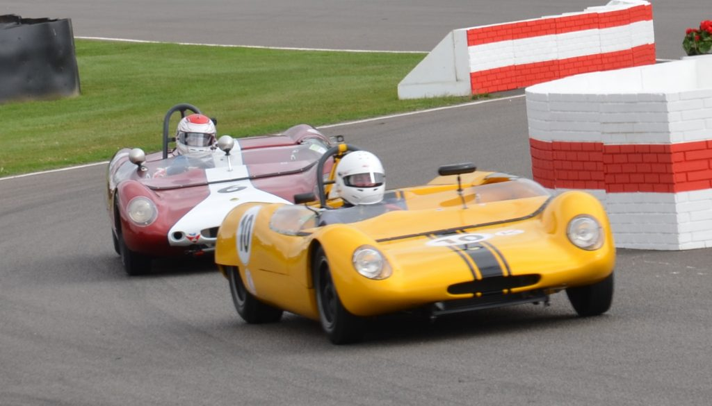 Stuart Tizzard and Katsuaki Kubota driving the Lotus 23Bs in the Madgwick Cup.