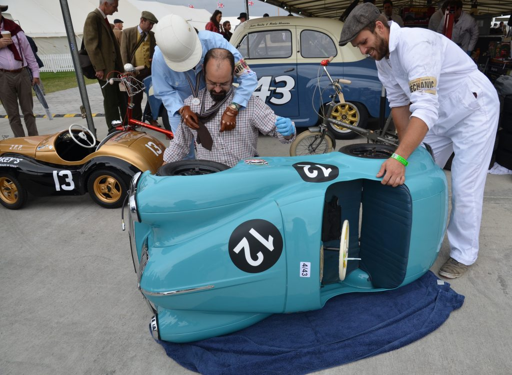 Austin J40 pedal cars driven by Amber Stanley and Joe Stanley, Settrington Cup.