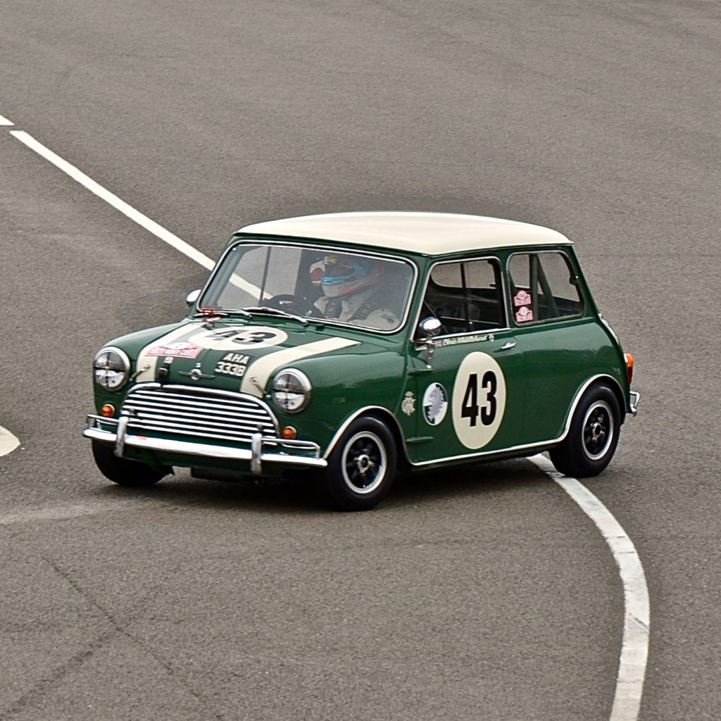 Mini Cooper S leaving the circuit after practice for the 77MM at Goodwood Motor Circuit 2019.