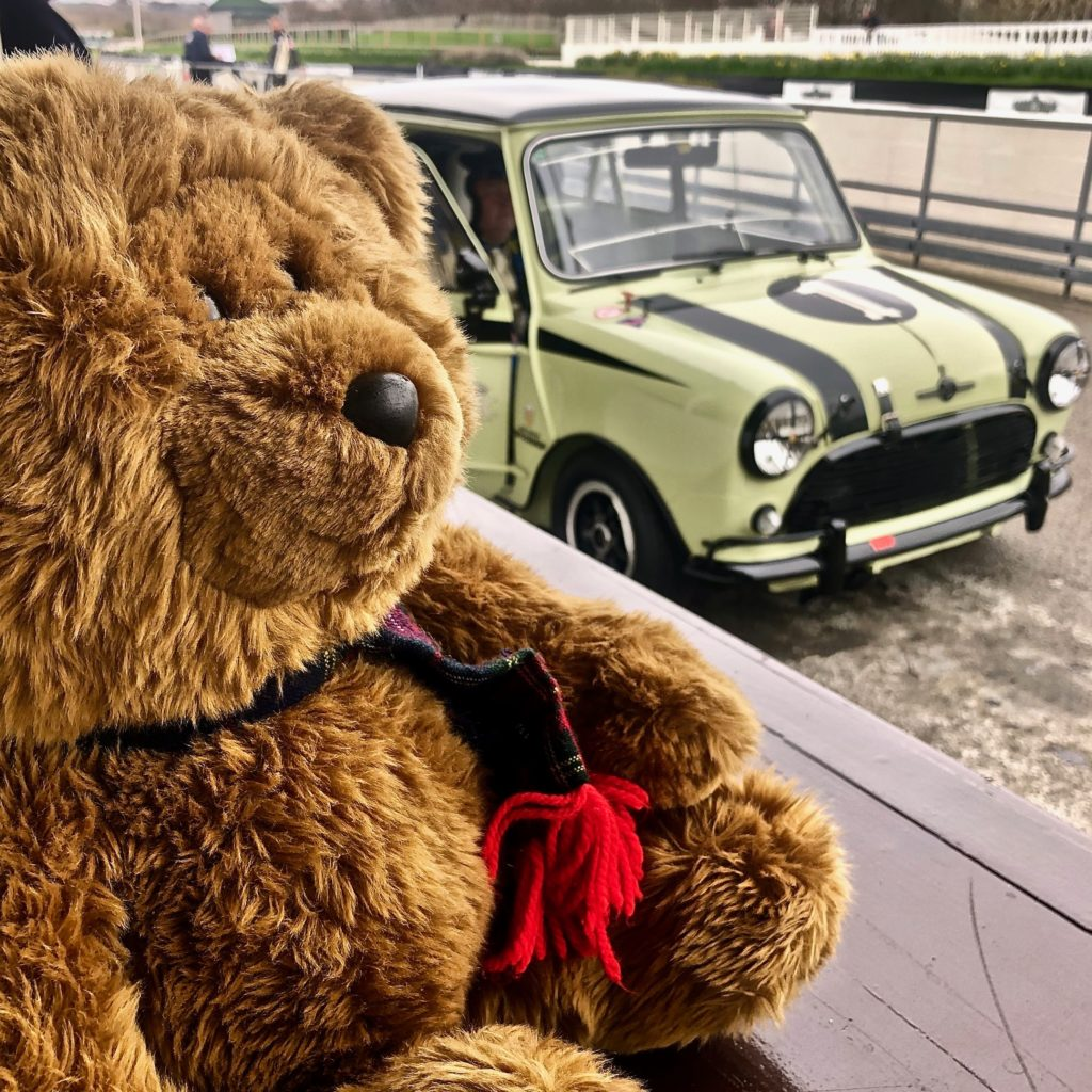 Hemel Bear on the pit counter, with a Mini behind, during practice for the 77MM at Goodwood 2019. Photo by Marcia White for Join The World Magazine.