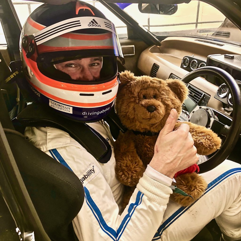 Hemel Bear in a Rover SD1 with driver James Wood, during practice for the 77MM at Goodwood.